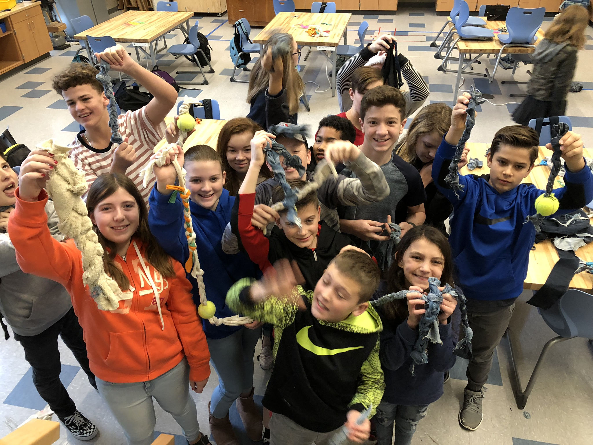 HMS students create chew toys for pets during Community Service Day