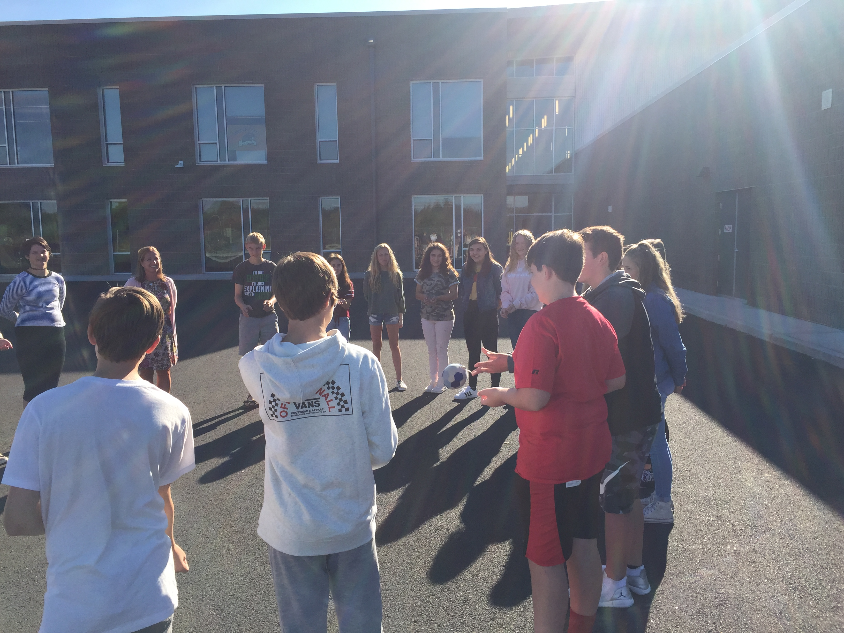 HMS students play a circle game