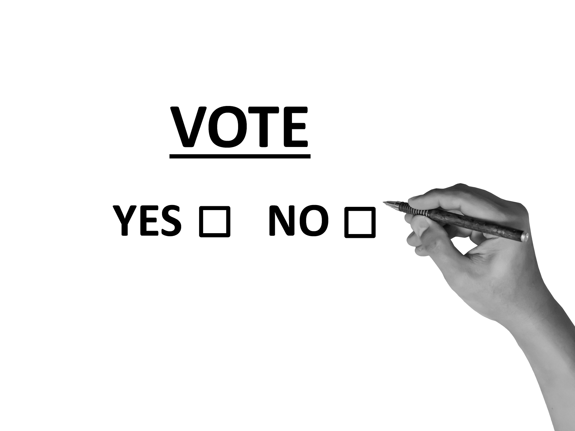 "Voter selecting between ""yes"" and ""no"""